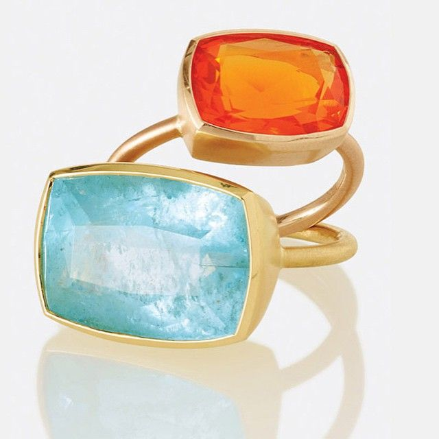 """@IreneNeuwirth has taken particular inspiration from the incredibly rich hues seen in original archival garments from the Imperial Palace, Beijing. She says, """"For the Met this year, I immediately felt that deep orange-reds and #turquoise were very Chinese-inspired."""" #Aquamarine #Ring: 18K yellow #gold ring with aquamarine. #FireOpal Ring: 18K rose gold ring with Mexican fire opal. Limited-edition #jewelry made to order #ChinaLookingGlass #DesignCollection #metstore #metmuseum #AsianArt100"""