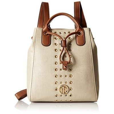 Tommy Hilfiger Eyelet Backpack, Metallic/Gold