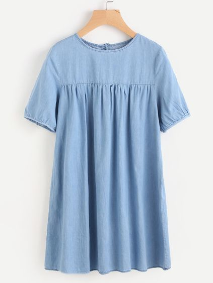 Double Button Back Pleated Smock Dress