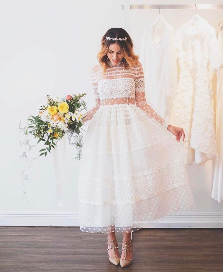 So in love with this dainty, feminine, tea length wedding dress from designer @christoscostarellos! ��✨ So super cute! Perfect for an upscale bridal shower, rehearsal dinner, or even your wedding ceremony or reception dress! �� #regram from @theperfectpalette �� http://gelinshop.com/ipost/1519862936662006672/?code=BUXo0nPBVuQ