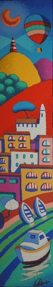 STEFANO CALISTI - amalfi e il blu serigrafia su tavola - dim 10x50