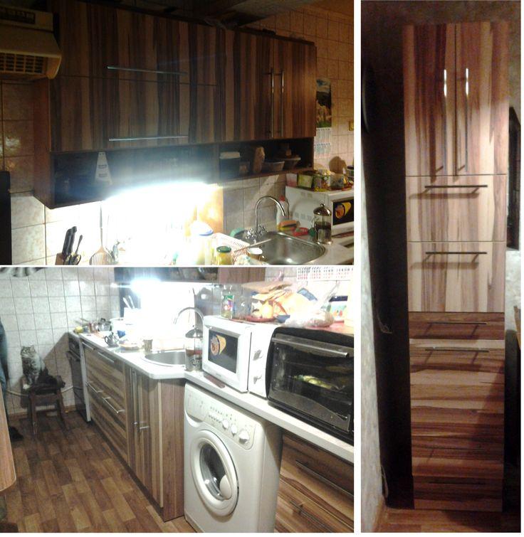 """Кухня прямая. ДСП """"Орех Балтимор"""" (фасады), """"Орех французский темный"""" - корпус.Длина - 2760мм + пенал 2200х550мм. Кухня изготовлена с большим количеством выдвижных ящиков, что практично и удобно. Оригинальность кухне придают необычные фасады, текстура которых скомпонована как по-вертикали, так и по-горизонтали. Стоимость - 11800грн (Новые дома) Изготовление мебели для кухни на заказ. #кухня #полосатая #мебель  #мебельназаказ"""