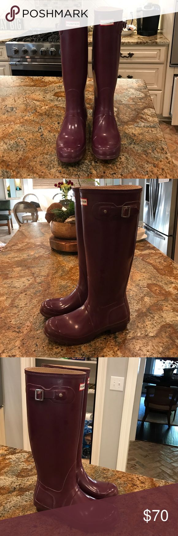 Tall hunter boots Maroon/purple, slightly worn, just below the knee height! 100% water and mud resistant, original gloss finish Hunter Boots Shoes Winter & Rain Boots