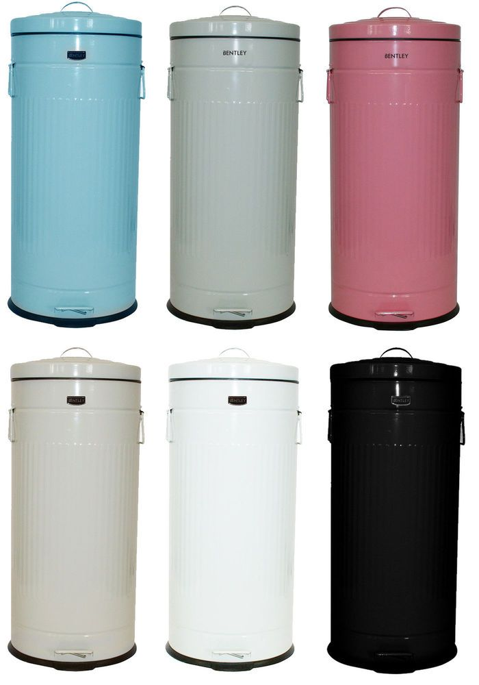 Details about bentley home 30l retro steel waste rubbish kitchen pedal bin various colours - Pink kitchen trash can ...
