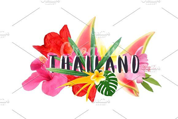 "Floral collage "" Thailand"" by Trefilova Anna on @creativemarket"