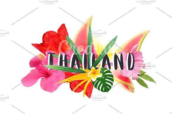 "Floral collage "" Thailand"" by Trefilova Anna on @creativemarket"