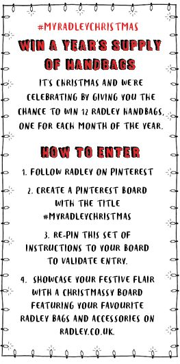 Want to WIN a year's supply of Radley handbags? Just follow these simple instructions for your chance to win! #MyRadleyChristmas