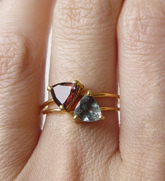 Red Tourmaline Triangle Ring OOAK Rubellite Gold Filled