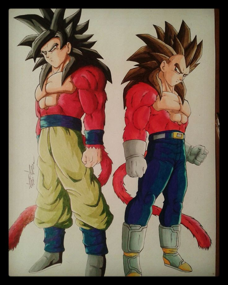 Prismacolor colored pencil drawing of Goku and Vegeta SSJ4. (33x48) Watch the full video on my YouTube channel. Follow me on Instagram. :D