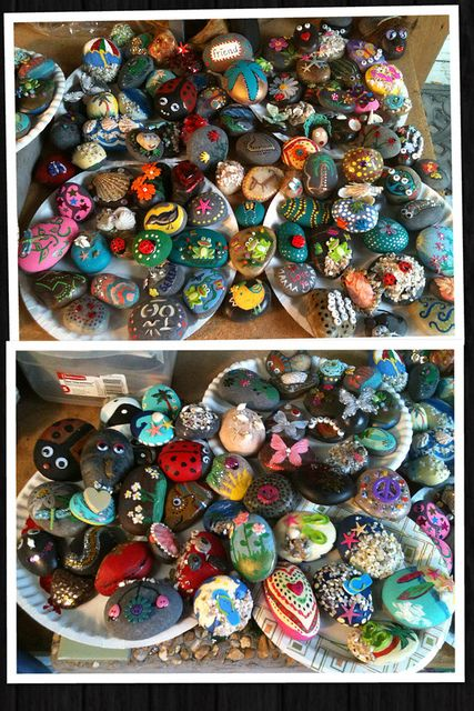 Happy Rocks to place for folks to find at a music festival! Eight friends came over today and we had a great time decorating Happy Rocks! The Happy Rocks will be 'set free' on benches... by a tree... on a fence post, etc. during the festival for folks to find and take home. Its all great fun!