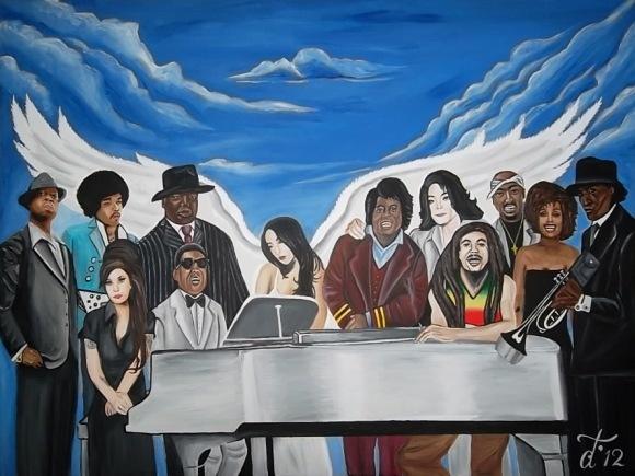 hier ziet u een schilderij van paar belangrijke artiesten/filmsterren die mij hadden geinspereed.