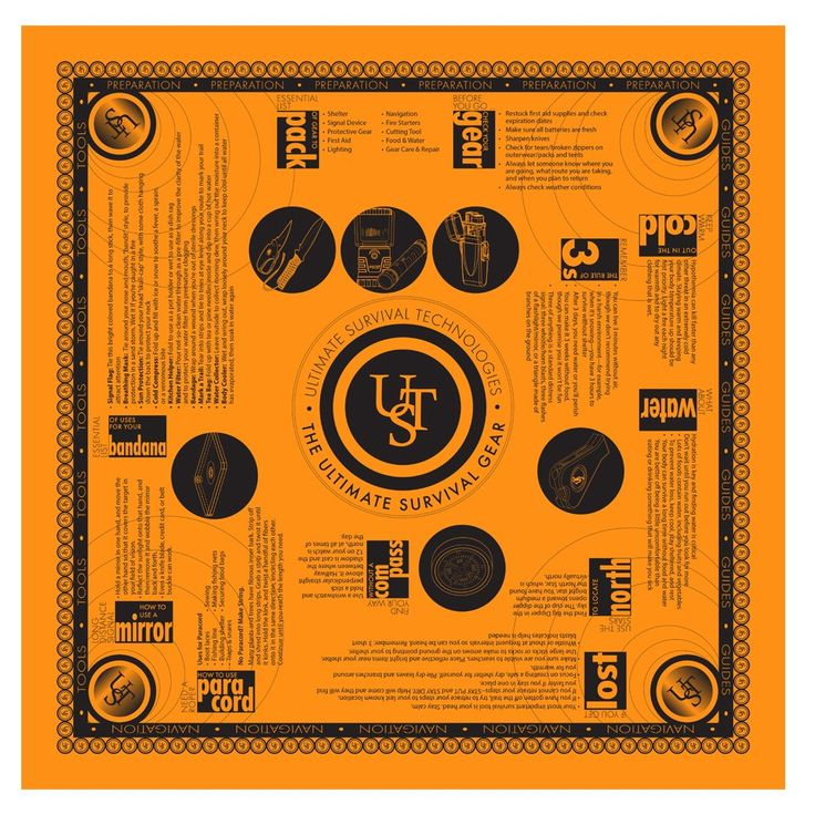 This high-visibility orange Survival Bandana features a collection of survival tips and is both functional and educational.
