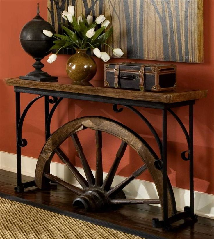 wagon wheel sofa table. Love the colour of the wall also !!