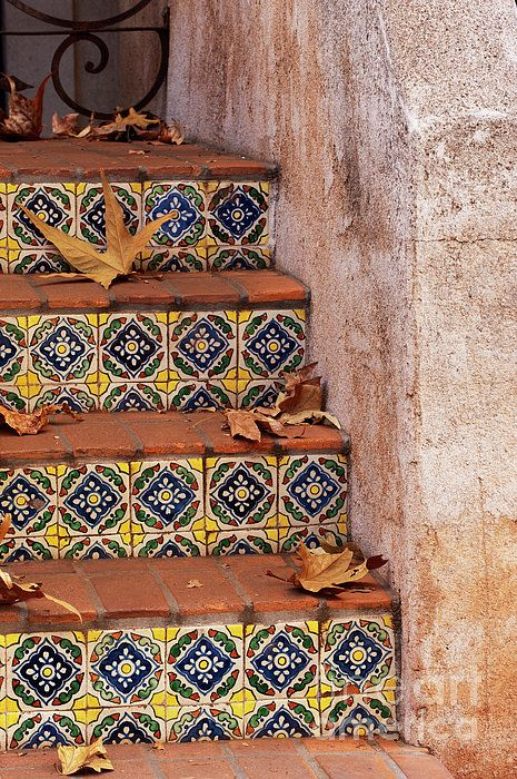 Spanish Tile Stair Greeting Card For Sale By Sandra
