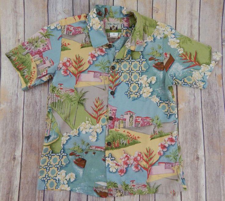 Reyn Spooner Boys Hawaiian Shirt  Mizners Dreams 1900's Palm Beach Size M 10-12 #ReynSpooner #Everyday