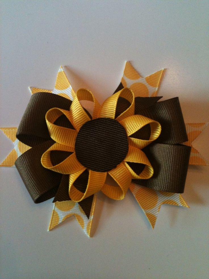 Sunflower Hair Bow Facebook.com/Lainey-Bug Hair Bows