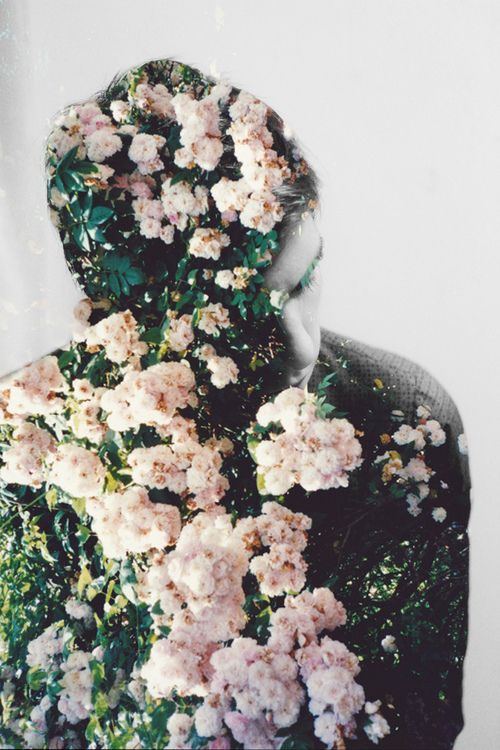flowers and portrait collage