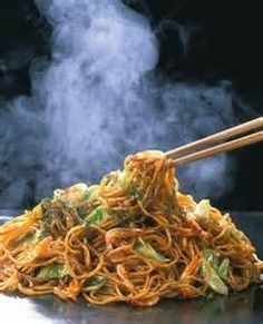 Yakisoba Noodles with Pineapple Teriyaki Glaze2 cups brown sugar1-3/4 cups soy sauce3/4 cup rice wine vinegar2 tbsp garlic, minced1-1/2 tbsp ginger, minced2 tbsp cornstarch4 tablespoons pineapple juice1 napa cabbage, finely chopped1 head boy choy, finely chopped1 carrot, julienned2 tbsp sesame oil12 oz yakisoba noodles