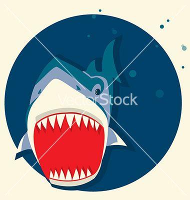 Big white shark cartoons vector 3030735 - by GeraKTV on VectorStock®