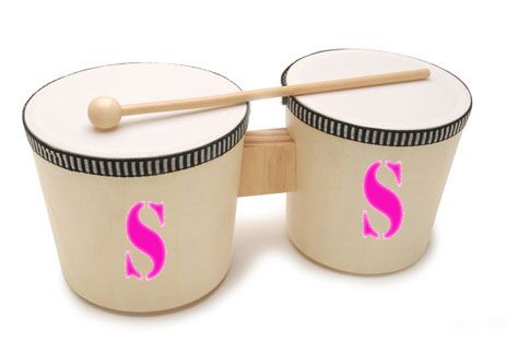 Toy bongos with spray-paint stencil 'S' = Skylar  http://www.consumercrafts.com/store/details/catalog/kids-instruments-and-music/1177-15
