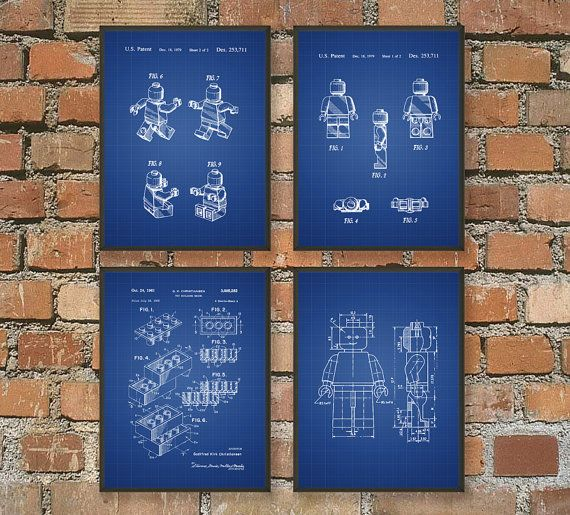 Lego Patent Prints - Wall Art Posters Set of 4 - Bedroom Art Prints - Playroom Posters  These patent posters are printed using high quality