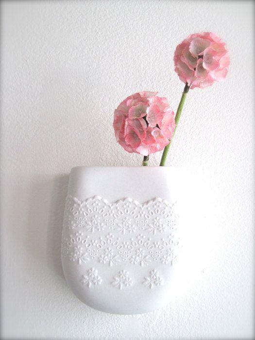 A porcelain ceramic lace wall pocket, too cute: Porcelain Flowers, Flowers Lace