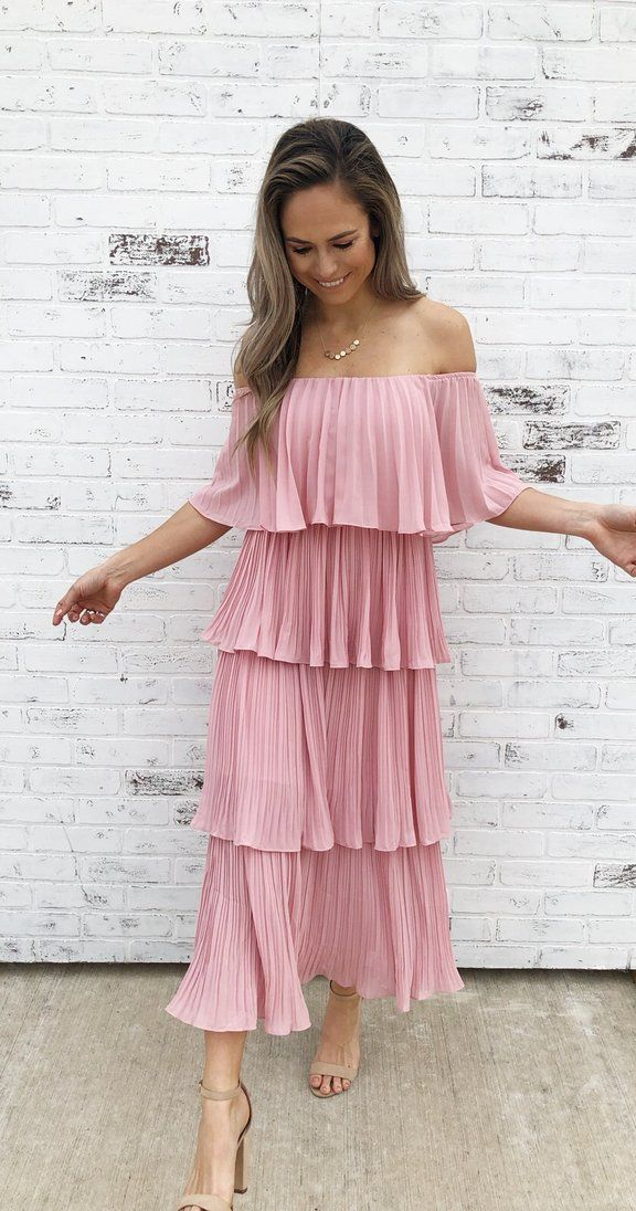 d68194b66 Romantic off-the-shoulder midi dress. Layered ruffled dress. Full of  movement. Dress up style. Spring fashion. Spring style. Loose fit. Girly  styled dress.
