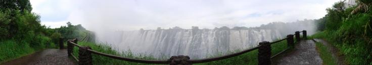 The Victoria Falls (Mosi-oa-Tunya), Livingstone, Zambia: A panoramic view from the Zambian side near the Knife-edge bridge