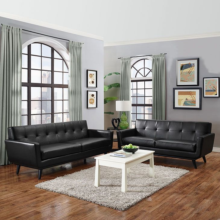 Engage 2 Piece Leather Living Room Set, Black - Gently sloping curves and large dual cushions create a favorite lounging spot. Whether plopping down after a long day at work, settling in with coffee and brunch, or entering a spirited discussion with friends, the Engage Living Room Set is a welcome presence in your home. Buttons create eye catching appeal; adding depth that brings your sitting decor to center stage. Four rubber wood legs and frame supply a solid base to the comfortable…