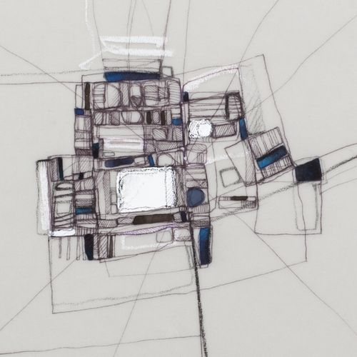 Urban morphology. Artworks / Drawing on tracing paper. Mixed media, ink, pencil, acrylic. 2016 / Detail.