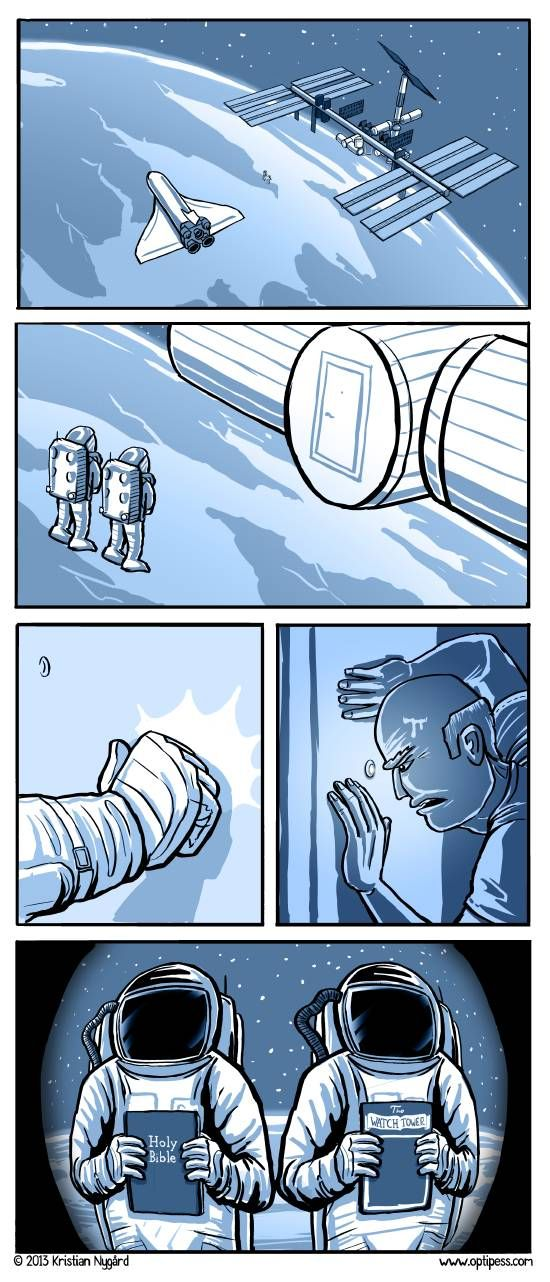 Knock Knock.....a comic strip in Norway (with Holy Bible and Watchtower)
