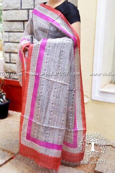 Designer Tussar Silk Dupatta with Block Print