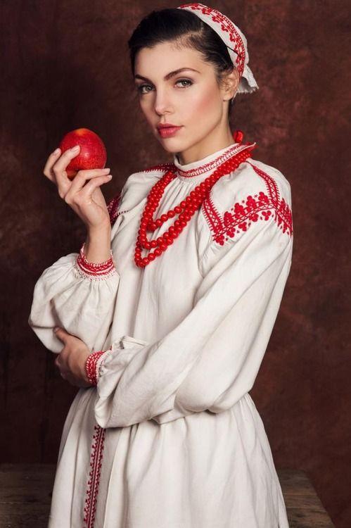 Actress Karolina Gorczyca in regional costume from Biłgoraj, Poland.