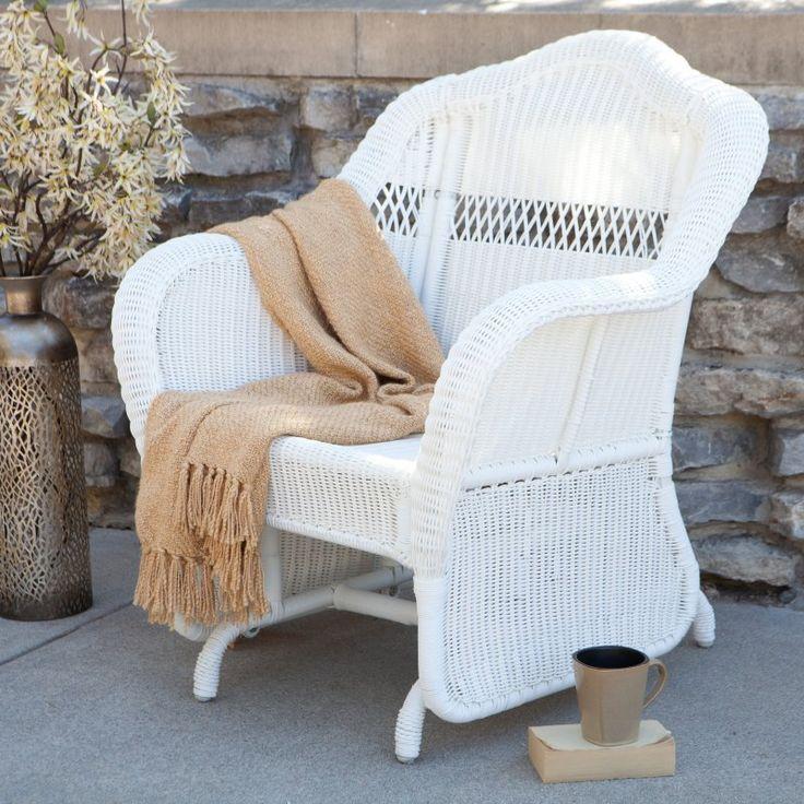 coral coast casco bay resin wicker outdoor glider chair cwt115sgrwh - Glider Rocker Chair