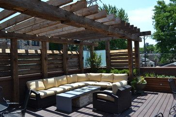 pics of contemporary pergolas | Contemporary Outdoor Space with Reclaimed Timber Pergola contemporary ...