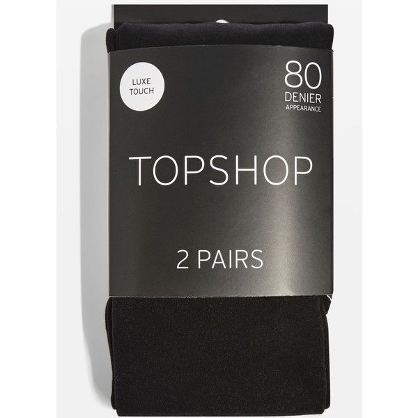 Topshop Pack of Two 80 Denier Tights (€9,08) ❤ liked on Polyvore featuring intimates, hosiery, tights, black, opaque stockings, opaque pantyhose and opaque tights