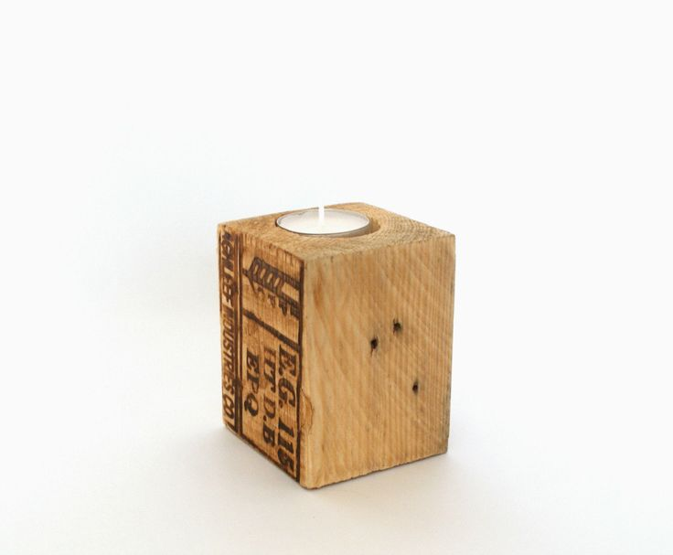 wooden candle holder.Pallet shipping label. tealight holder. Rustic shabby chic original print. recycled materials. great boyfriend gift by BearDogAnd…
