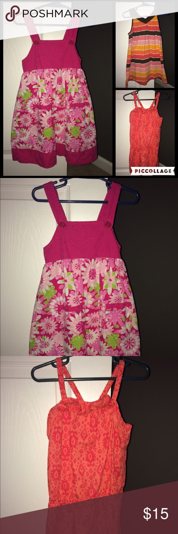 Two -4t dresses and 4t romper. Good condition. The orange outfit is a romper.  The other two are dresses. Dresses