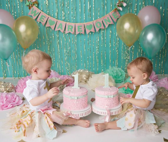 PINK & GOLD 1st Birthday BANNER / Pink and mint birthday / Cake smash banner / Mint and gold first birthday / Pink and mint baby shower