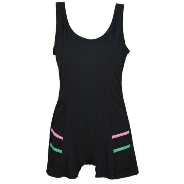 MarSea Modest Swim & Casualwear Sleeveless Aquasuit (€42) ❤ liked on Polyvore featuring swimwear, one-piece swimsuits, black, balcony bra, boy shorts swimwear, balconette swimsuit and one piece boy short swimsuit