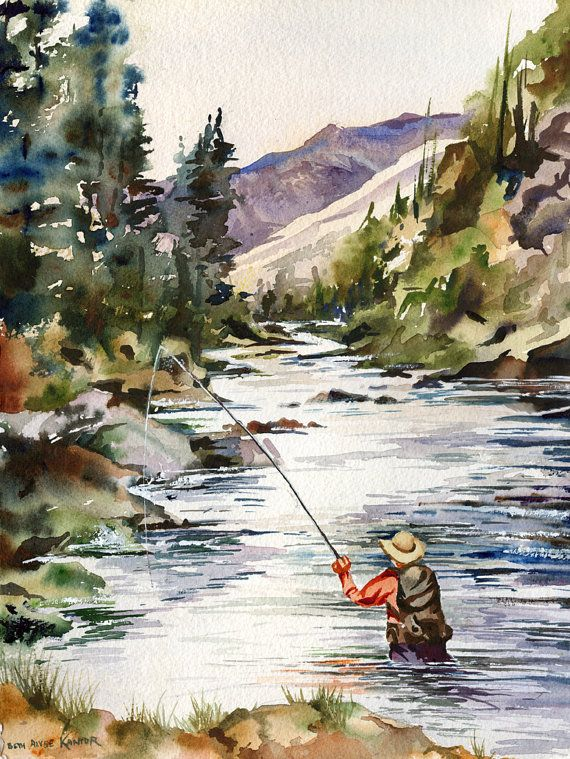 Fly Fishing in the Mountains, watercolor painting print. I just purchased this and had it framed for one of our guest bedrooms.  The colors are incredible.  Well done, Beth at www.etsy.com/shop/baylesdesign we LUH-UV-UV-UV this gorgeous watercolor!  Jude