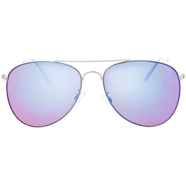 Topshop Ally Revo Aviator Sunglasses ($15) ❤ liked on Polyvore featuring accessories, eyewear, sunglasses, blue, aviator sunglasses, blue aviators, aviator style glasses, blue aviator glasses and blue aviator sunglasses