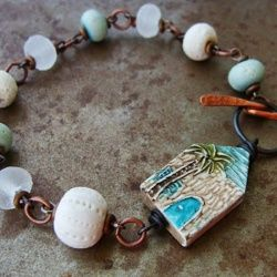 I created this bracelet as a memento of my latest Bead Cruise. I made these little beach houses right before the cruise