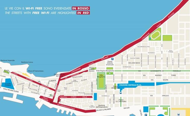 La mappa del centro storico di Trapani dove in rosso sono evidenziate le zone dove si può navigare utilizzando il WI FI FREE della Camera di Commercio Industria Artigianato Agricoltura di Trapani.