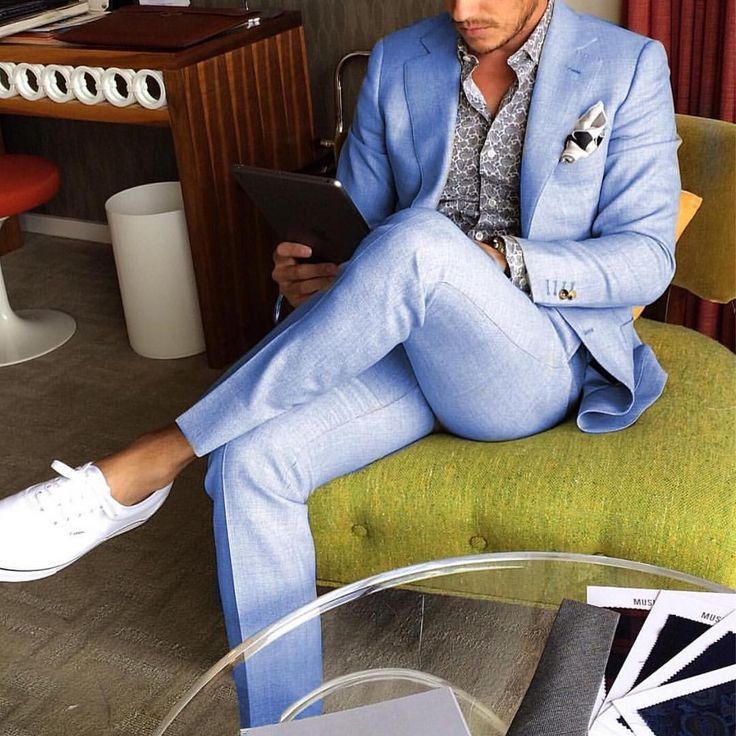 Light blue #suit with white vans by @aleksmusika ✨ [ www.RoyalFashionist.com ] #saturdayoutfit