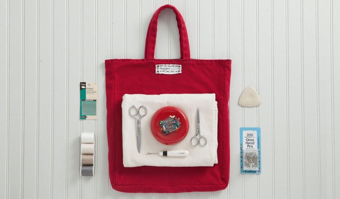 Red bag of sewing