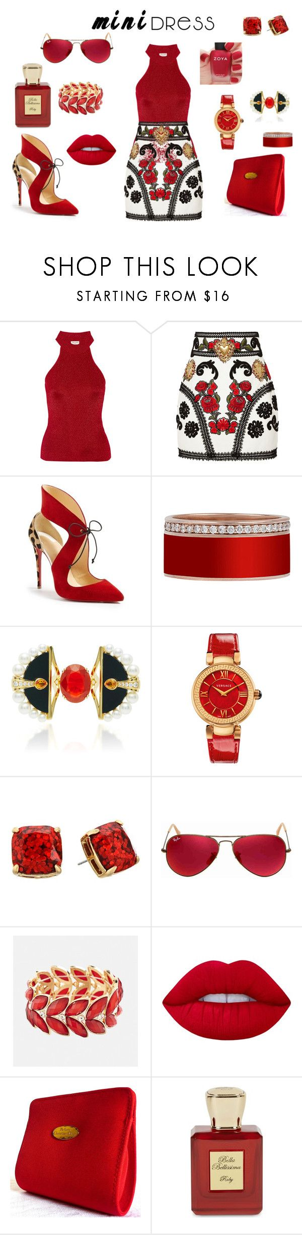 """""""Mini Red"""" by sekarionkj ❤ liked on Polyvore featuring Yves Saint Laurent, Dolce&Gabbana, Christian Louboutin, Lalique, Versace, Kate Spade, Ray-Ban, Avenue, Lime Crime and Christian Dior"""