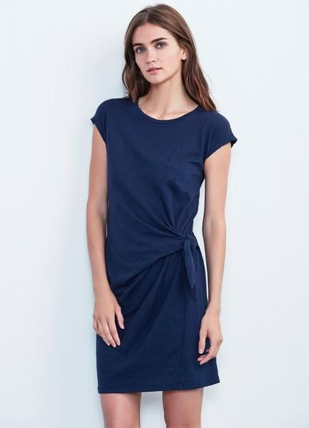Thisversatile dress is cut inVelvet's signature cotton slub jerseyknit. Simple pullover style with a super flattering drape and tie detail at the waist. crew