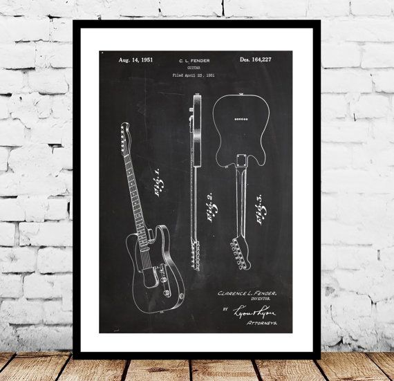 Fender Electric Guitar Poster Fender Electric by STANLEYprintHOUSE