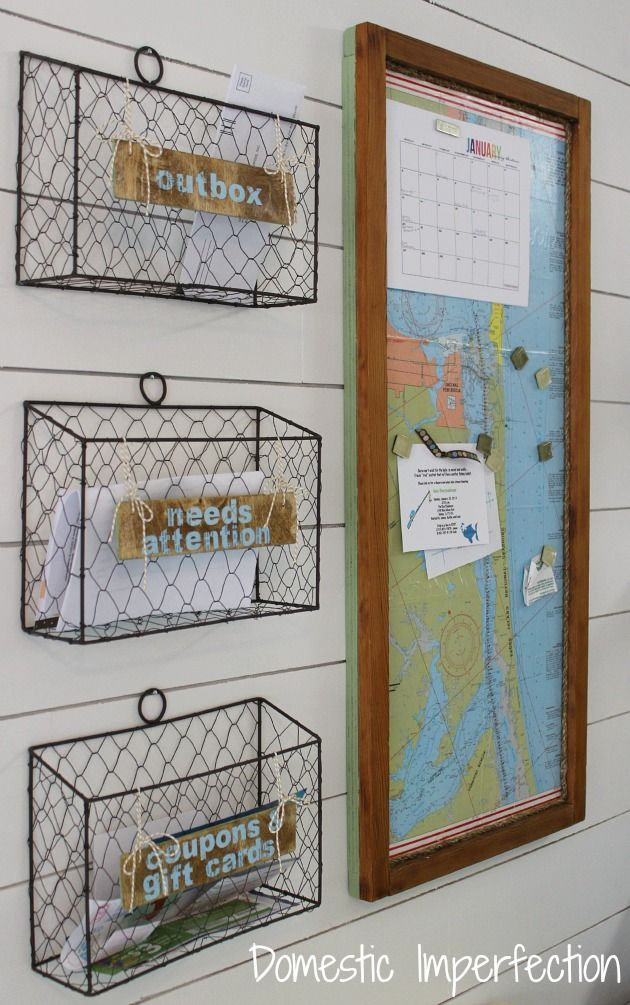 Kitchen command center with wire baskets and a magnetic map
